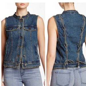 NWT FREE PEOPLE Ripped Lace Up Denim Vest